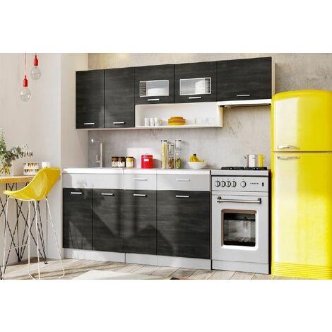 meubles cuisine complete moreno noir 2m40 6 meubles moinschercuisine noir