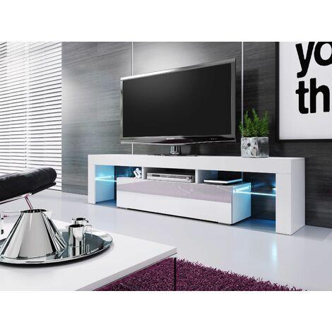 meuble banc tv blanc sans leds 1m90 moinschercuisine blanc