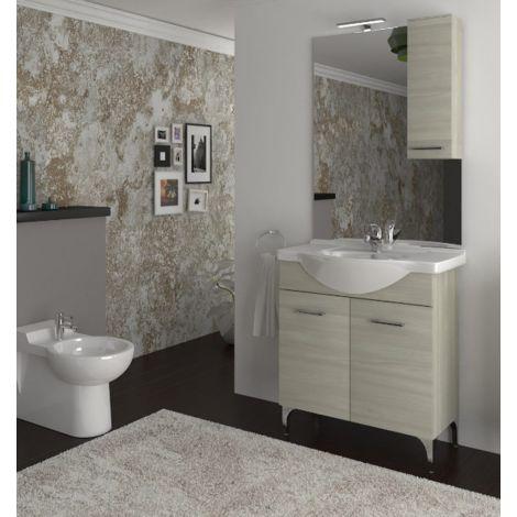 meuble de salle de bain sur le sol 75 cm ambra roble gris avec lavabo en ceramique standard 75 cm chene gris