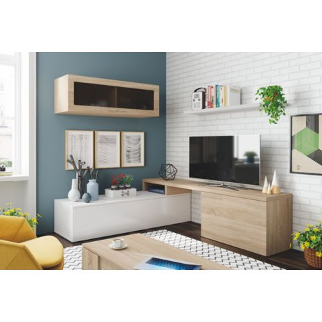 ensemble meuble tv nova 200 cm blanc brillant et roble canadien blanc brillant roble canadian