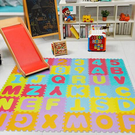 wihobby 36 pieces puzzle tapis jeu mousse 32x32cm chiffre et alphabet jouet educatif pour enfants