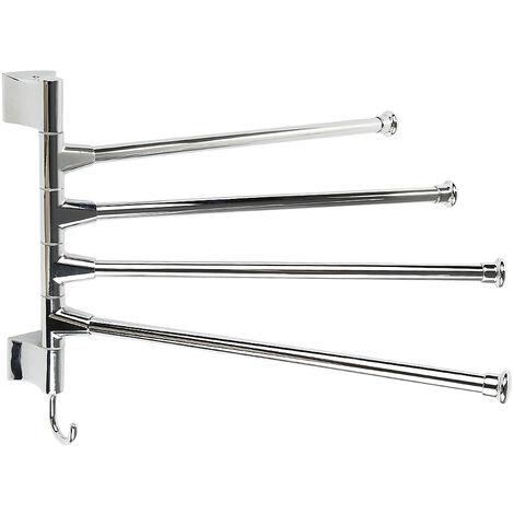 barres porte serviettes mural pivotantes en acier inoxydable salle de bain