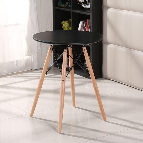 table salle a manger pour 2 4 personnes look scandinave cuisine ronde noir pieds en bois hetre massif o 70 cm