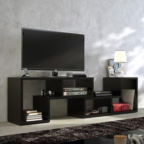 meuble tv table basse bibliotheque 3 en 1 123 150 cm style contemporain pratique et multifonctionnel noir noir