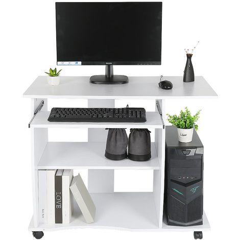 bureau informatique a 4 roulettes 90x50x75 cm tablette clavier table d ordinateur meuble de bureau