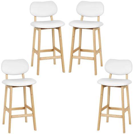tabouret de bar lot de 4 tabouret de cuisine design en cuir artificiel et bois blanc