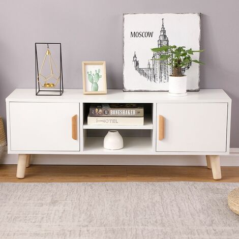 meuble tv table basse style scandinave avec 2 portes et 2 etageres blanc blanc