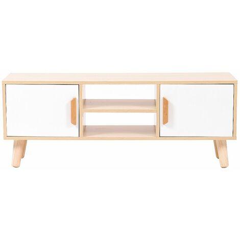 meuble tv scandinave laque 110 cm couleur du bois blanc couleur du bois blanc