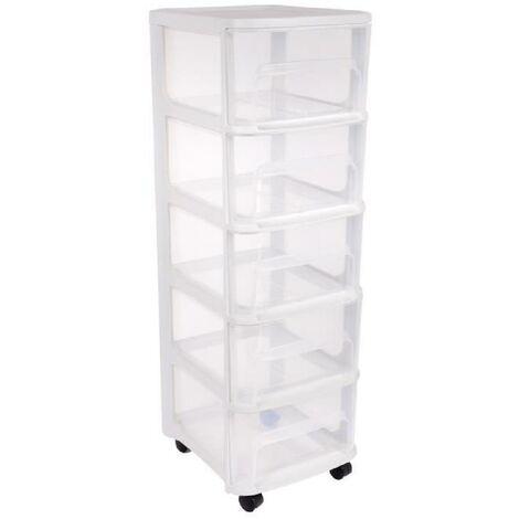 eda plastique tour de rangement city avec roulettes 5 tiroirs 32 x 37 x 97 cm blanc transparent