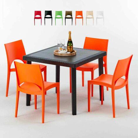 table carree noire 90x90cm avec 4 chaises colorees grand soleil set exterieur bar cafe paris passion orange