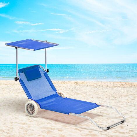 lit de plage aluminium pliant bain de solat roues pare soleil bananaeil trans turquoise