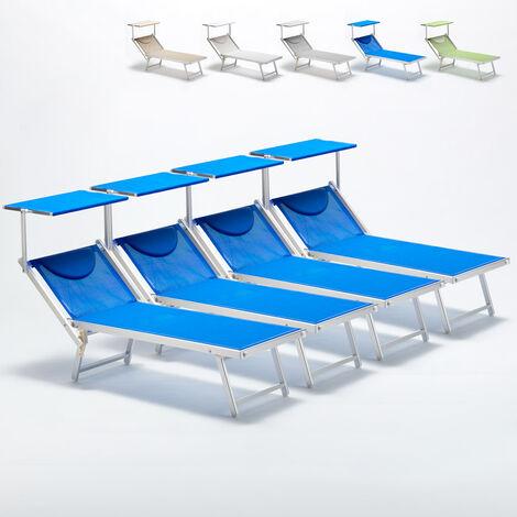 bain de soleil professionnels lits de plage transats aluminium italia 4 pieces bleu