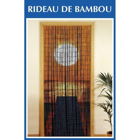 rideau de porte bambou coucher de soleil orange
