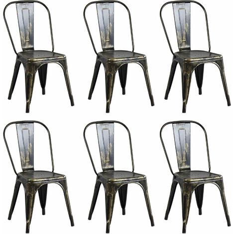 Le sedie da soggiorno bontempi non faranno certo passare il tuo salotto inosservato, che si tratti di un salotto, un soggiorno o una sala da pranzo le sedie da soggiorno sono un elemento imprescindibile, è per questo che bontempi cura ogni sua sedia nei minimi particolari. Set Di 6 Sedie In Metallo Di Design Moderno Industrial Vintage Per Sala Da Pranzo Bar