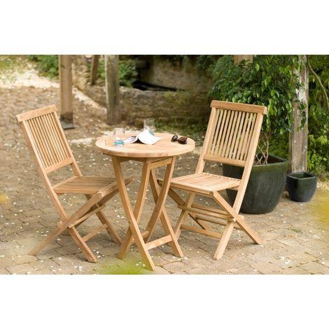 salon de jardin en bois teck 2 personnes ensemble de jardin 1 table ronde pliante 60 cm et 2 chaises marron