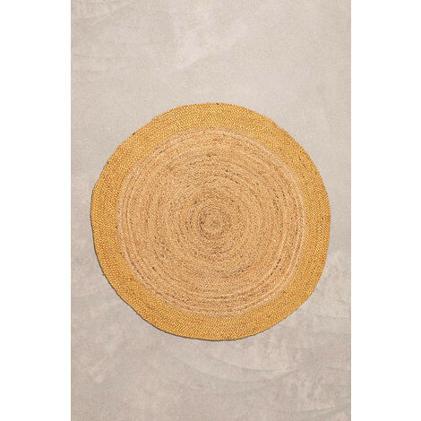 sklum tapis rond naturel en jute natur moutarde jute mostaza 100 cm