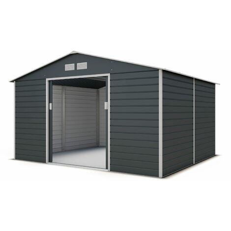 abri de jardin metal gris 10 20 m2 kit d ancrage
