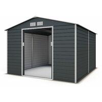 abri de jardin metal gris 8 25 m2 kit d ancrage