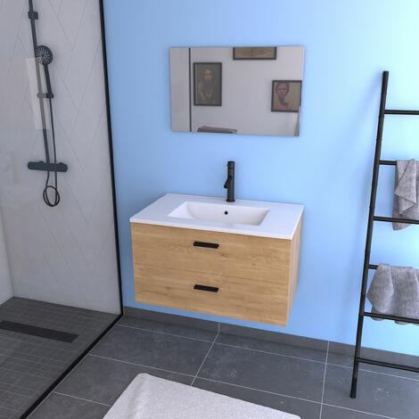 meuble salle de bain 80 cm monte suspendu decor bois h46xl80xp45cm avec tiroirs vasque et miroir