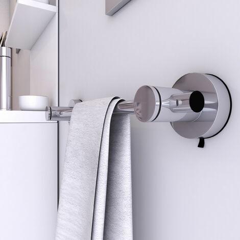 porte serviette ventouse pour salle de bains support serviette sans clou ni vis syteme vide d air chrome