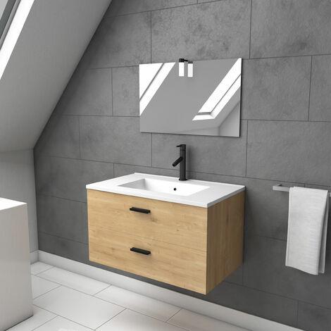 meuble salle de bain 80 cm monte suspendu finition bois tiroirs soft close vasque et miroir