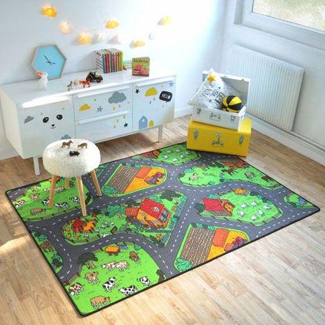 tapis de jeu enfant circuit voiture campagne 145 x 200 cm