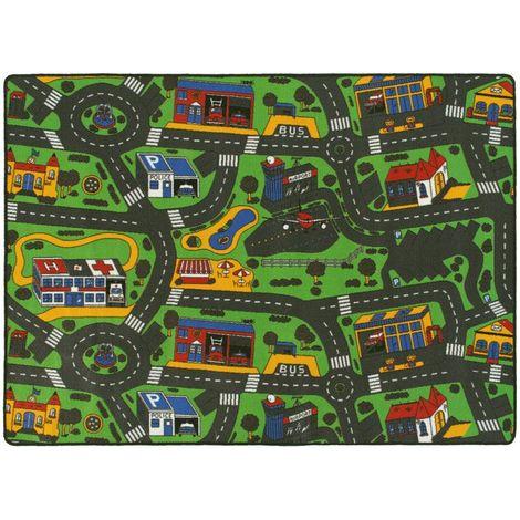 tapis de jeu enfant circuit voiture ville 145 x 200 cm