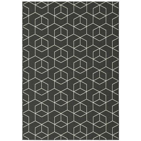 tapis graphique essenza noir cubes 3d 120 x 170 cm