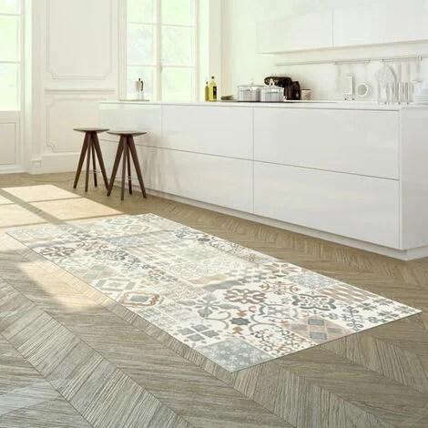 tapis vinyle carreaux de ciment naturel 100 x 160 cm
