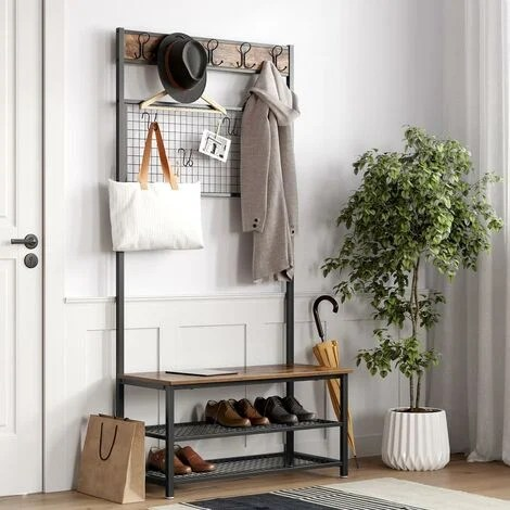 vasagle industrial coat rack stand shoe rack and bench with grid memo board 9 hooks and storage shelves hall tree with stable metal frame rustic