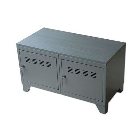 commode metal sur pied taupe
