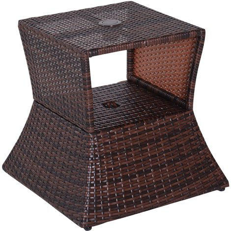 outsunny outdoor patio rattan wicker coffee table side table w umbrella hole