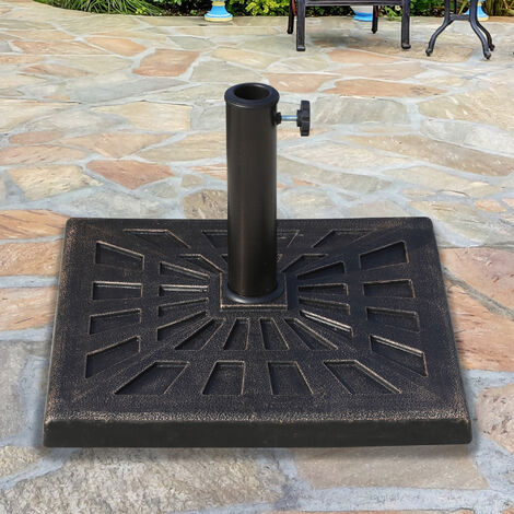 outsunny 15kg patterned colophony garden patio umbrella square stand base bronze