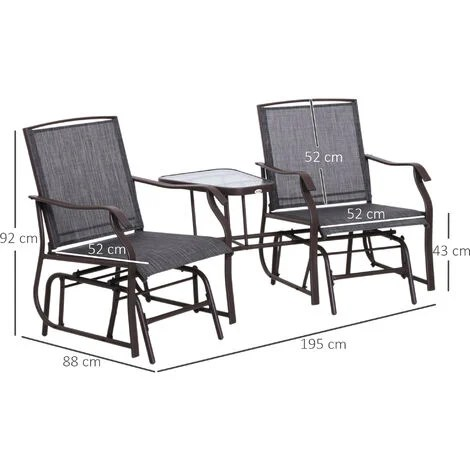 outsunny double glider rocking chairs table high back set patio outdoor furniture