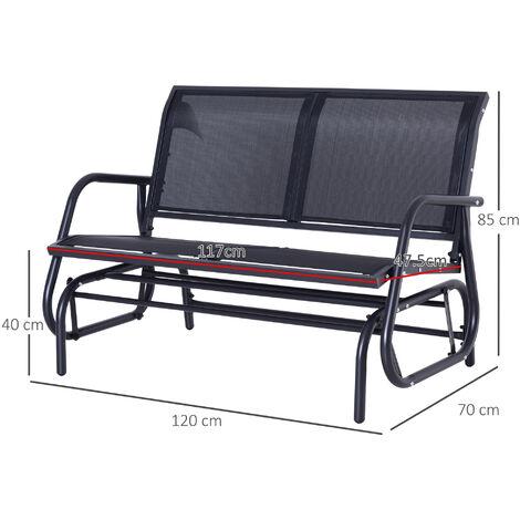 outsunny double swing chair outdoor garden patio glider bench grey
