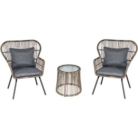 outsunny 3 pcs webbed pe rattan outdoor patio set w cushions steel frame grey