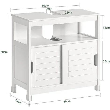 meuble sous lavabo meuble de salle de bain vasque 1 etage et 2 portes coulissantes blanc sobuy frg128 w