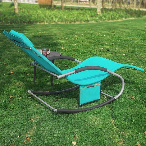 fauteuil a bascule chaise longue transat de jardin avec repose pieds et 1 pochette laterale bain de soleil rocking chair turquoise sobuy ogs28 hb