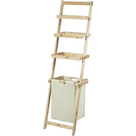 etagere murale style echelle pour salle de bain avec 1 panier a linge amovible et 3 niveaux de rangement frg160 n sobuy