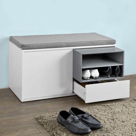 banc de rangement a chaussures avec coussin rembourre tiroir et etageressobuy fsr37 w sobuy