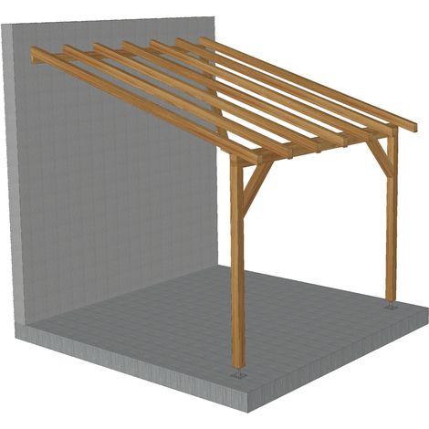 carport adosse 3x3 tuilable pente 30 bois massif traite cl3 marron robuste sans la visserie et sans les pieds de poteaux