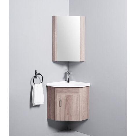 meuble de salle de bain d angle gain de place lave main bois 42x42 cm corner