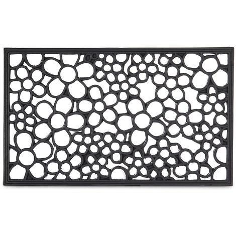 paillasson 75x45 cm tapis de sol antiderapant caoutchouc fleurs resistant pluie neige intemperies noir