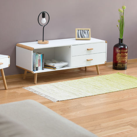 commode lowboard coins arrondis en blanc meuble tv buffet avec tiroirs hxlxp 48 x 120 x 40 cm blanc