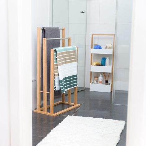 porte serviettes sur pied 3 bras salle de bain bambou support valet serviteur hxlxp 84 x 48 x 26 cm nature