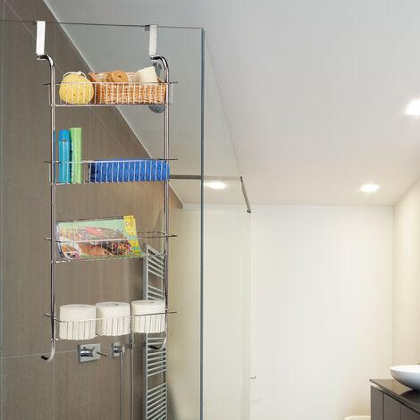 organiseur de porte etagere de porte salle de bain cuisine a suspendre rangement mural chrome hxlxp 112 x 45 x 23 cm argent