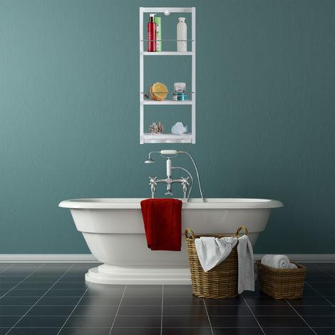 etagere douche bambou 3 niveaux pateres sans percage rangement suspendu salle de bain 70x28 5x10 5cm blanc