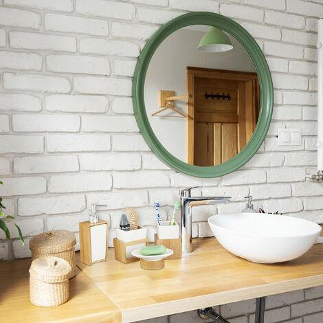 accessoires salle de bain bambou ceramique set 4 pieces distributeur savon gobelet brosse a dent nature blanc