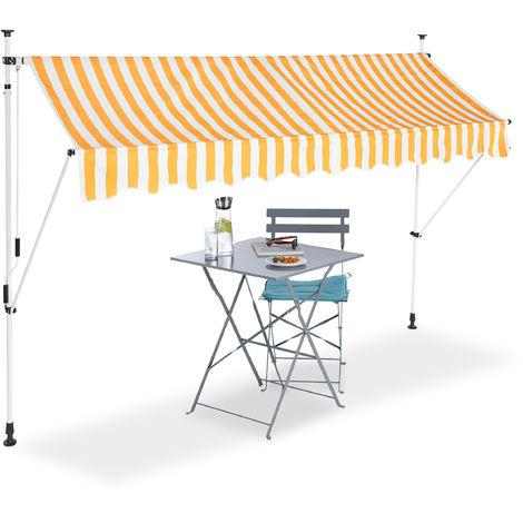 auvent retractable store 300 cm balcon marquise soleil terrasse hauteur reglable sans percage jaune blanc