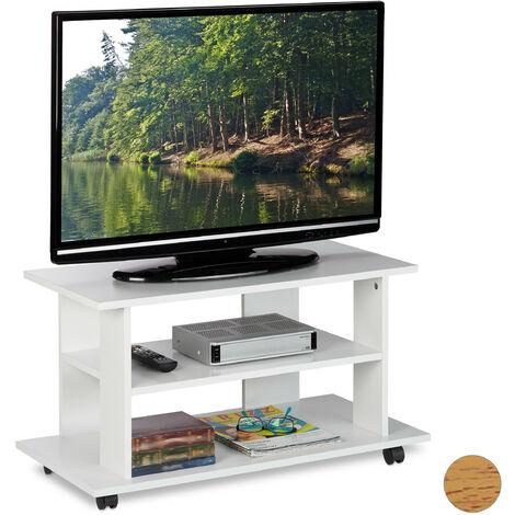 meuble tv sur roulettes 2 compartiments console tv receiver table tv sur roulettes hlp 45 x80x40cm blanc